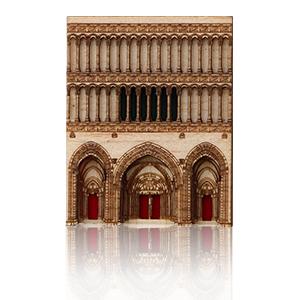 Aimantin représentant l'église Notre Dame à Dijon jusqu'au XIXeme